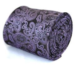 Frederick Thomas dark purple and black paisley tie FT2071
