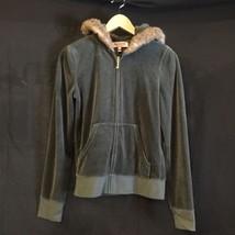 Juicy Couture Women's Green Velour Zip Fuzzy Hoodie Jacket Sz M Used Jui... - $21.49