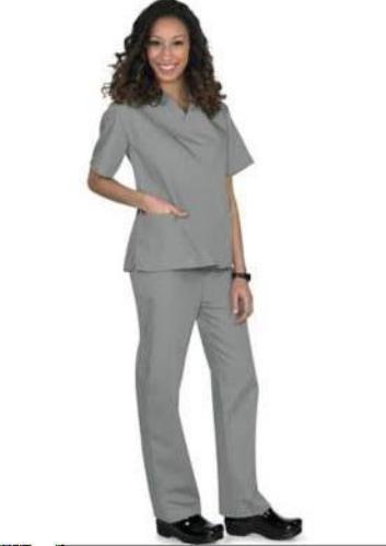 Scrub Set Grey V Neck Top Drawstring Pants 3XL Unisex Medical Natural Uniforms image 6