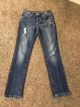 Girls Justice Skeleton Skinny Simply Low Jeans Sz 12R Some Wear - $5.00