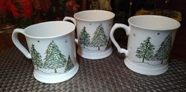 3 Grace's Fine porcelain Green Gold Christmas Trees Coffee/Tea Mugs - $29.00
