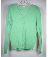 American Vintage Womens Cardigan Sweater Green Knit Cotton LS Button S  - $14.85