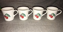4 CORELLE Fruit Basket Too Coffee Mugs Cup White Cherries  Apples  Corning - $14.84