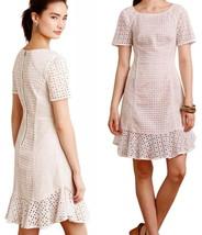 $188 Anthropologie French Lattice Dress 6 Medium White w Nude Lining Sim... - $98.00