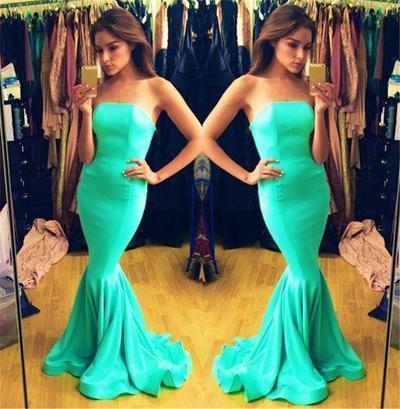 Maid green prom dresses 2016 spring strapless plus size vestido de festa floor length satin 400w