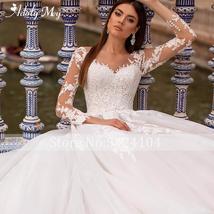 New Elegant Appliques Court Train Princess Bridal Gown Scoop Neck Full Sleeve Tu image 5
