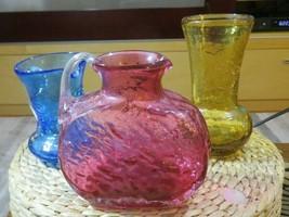Set Of 3 Vintage Glass Pieces Handblown Pontil Scar Fenton Style Cranberry +++ - $30.23
