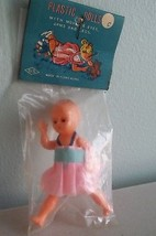 "Vintage Plastic Doll Hong Kong Dollhouse Eye Arm Leg Move 3 1/4"" Pink Dr... - $9.04"