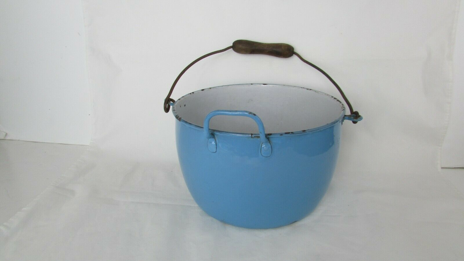Vintage Enamel  Pail Bucket Blue and White Enamelware With Wooden Handle image 2