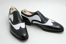 Handmade Men's Black & White Leather Heart Medallion Oxford Dress/Formal Shoes image 3