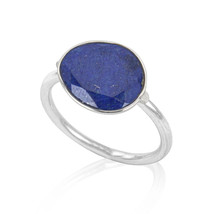 Natural Faceted Lapis Lazuli  925 Sterling Silver Statement Ring Handmad... - $20.06