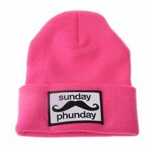 Team Phun Sunday Phunday Neon Orange Pink Yellow Green Skullie Hat Beanie Hat NW image 3