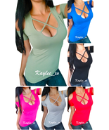 Sexy Cold Shoulder Low-cut Caged Strappy Criss Cross Short Sleeve Shirt ... - $21.22