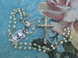 Catholic ROSARY Dainty Pearl Beads Alpaca Silver nice Crucifix & center ... - $22.43