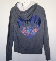 NEW Victoria's Secret PINK Faux Fur Bling Heart RARE Hoodie SZ XS X-Small - $89.09