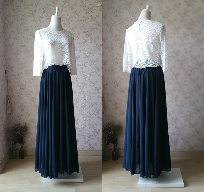 Plus Size Navy Blue Chiffon Skirt Silk Skirt Navy Blue Wedding bridesmaid  Skirt