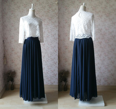 Plus Size Navy Chiffon Skirt High Waist Flowy Navy Wedding Chiffon Skirt image 2