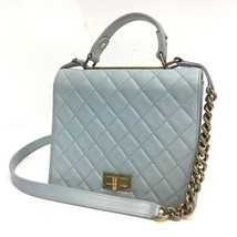 AUTHENTIC CHANEL Matelasse 2 WAY Hand Bag Light Blue Calf Leather - $1,830.00