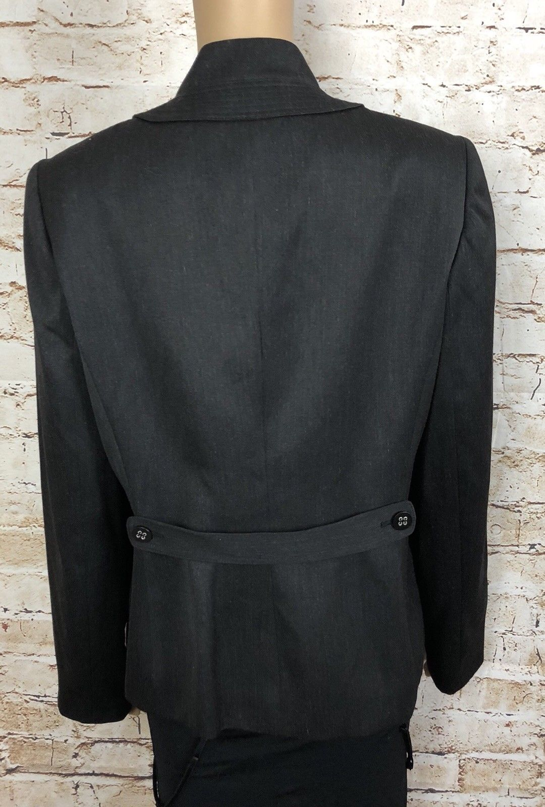 Calvin Klein Coat Blazer Double Button Up Gray Mandarin Collar Lined Women's 10