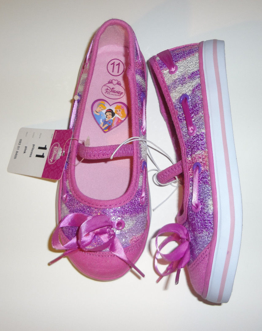 Disney Girls Toddlers Pink Princess Canvas Slip On Shoes Size-6,9,11  NEW