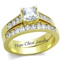 HCJ GOLD TONE CLASSIC PRINCESS CUT CZ ENGAGEMENT WEDDING RING SET SIZE 6 - $23.49