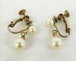 Marvella earrings faux pearl dangles spring clip on screw backs vintage - $3.91