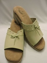 White Mountain Sandals Slip On Clogs 9M Comfy Casual Italian Light Green... - $24.99