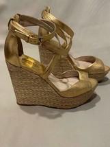 Michael Kors Sandal Platform Wedge Textured Gold Leather Ankle Strap 8.5 - $83.30