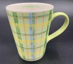 Starbucks 2006 Coffee Mug Green & Yellow Plaid Dishwasher & Microwave Safe - $19.79