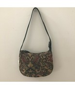 NWT Fossil Floral Tapestry Mini Hobo Black Strap Shoulder Bag Purse Mult... - $26.73