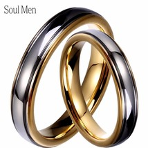 Wholesale 1 Pair Gold & Silver Color Tungsten Wedding Couple Rings Set 4... - $43.95