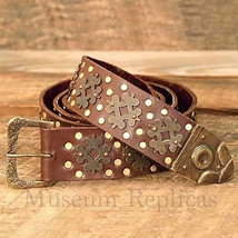 """Museum Replicas Thick Heavy-Duty Leather + Brass Medieval 70"""" Knights Be... - $72.93"""