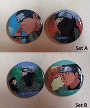 NARUTO 4cm Can Button Badge Kakashi Hatake Iruka Umino Teachers Set of 2 - $8.99