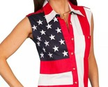 Scully Sleeveless American Flag Western Shirt Red White Blue Women's Sz M