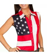 Scully Sleeveless American Flag Western Shirt Red White Blue Women's Sz M - £36.35 GBP