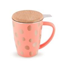 Cute Mug, Bailey Peach And Copper Insulated Novelty Unique Ceramic Infus... - $23.99