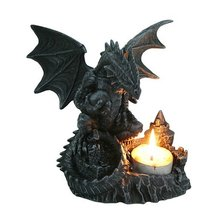 PTC 6 Inch Perching Dragon Hand Painted Resin Candle Holder, Black - $32.98
