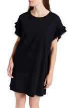 NWT 148$  Current Elliott T-Shirt Dress THE RECRAFTED RUFFLE Black Ruffle - £26.63 GBP