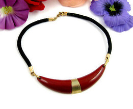 Sarah Coventry NECKLACE Vintage Rusty Brown Front Piece Black Cord Choke... - $14.99