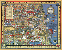"""1931 Gangster Map Chicago Gangland from Authentic Sources History 11""""x14... - $12.38"""