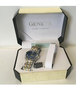 Geneva Classic Collection Watch Silver Gold Tone Band - $28.04