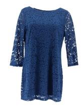 Liz Claiborne NY 3/4 Slv Chic Bateau Neck Lace Tunic Sapphire Blue M NEW A267260 - $30.67