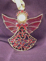 Pewter Jeweled Christmas Ornament Angel - $7.95