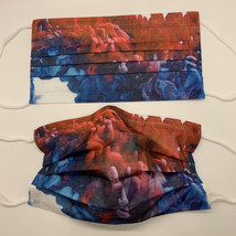 10 pretty blue and red smoke cloud disposable face mask - $11.00