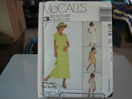 McCall's 8719 Misses Unlined Jacket & Dress in 2 Lengths Pattern - Size ... - $6.92