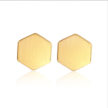 5 pairs of  Hexagon Golden Stud Earring Stud (NED144A) - $12.50