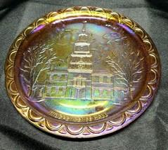 Bicentennial Independence Hall Iridescent Marigold Indiana Carnival Glas... - $21.00