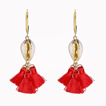 RED TASSEL seashell dangle earrings  - $15.00