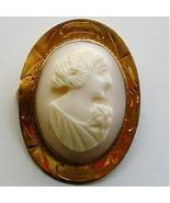Pink Shell Cameo Brooch etched 10 kt gold setting 1930s - $79.00