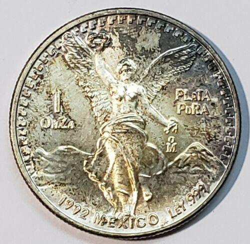 1992 Mo 1 ounce SILVER ONZA LIBERTAD MEXICO Toned Coin
